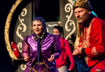 Picture of two characters from the onstage production of Crystal's Vardo